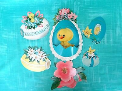 Vintage Easter Chicks Ducks and Eggs Die Cut Decorations