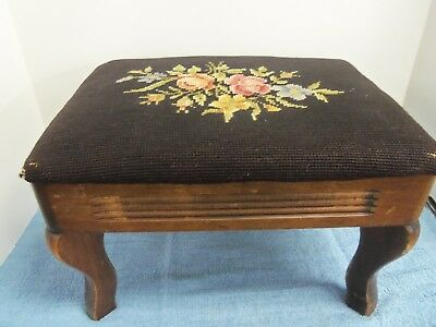 Vintage Wood Foot Stool with Brown Floral Needlepoint Padded Seat carved legs