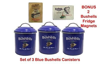 Bushells Metal BLUE COLOUR  Canister SET of 3 + Bonus magnets