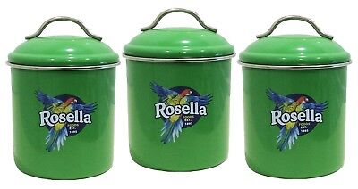 Rosella Metal GREEN COLOUR  Canister SET of 3