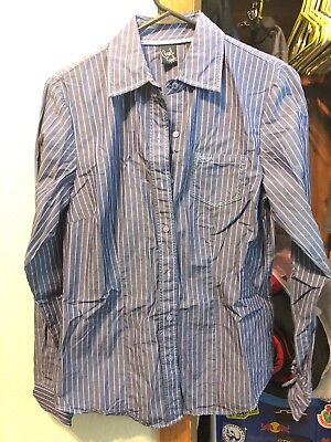 904907a2 Cruel Girl Western Button Down Shirt Blue Plaid Blouse Arena Fit Rodeo Small