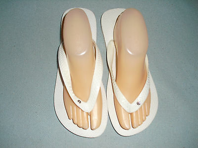 New Havaianas Top Crystal Glamour misses flip flops size 9 white w/ lilac stone