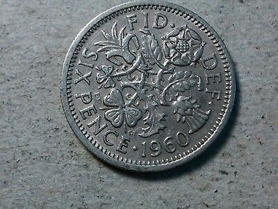 Great Britain 6 pence sixpence 1960 young queen Wedding gift coin