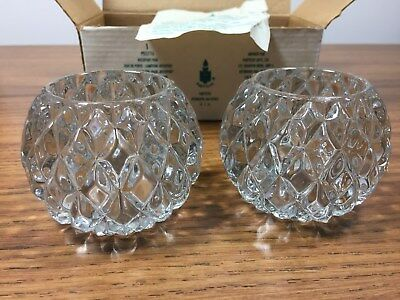 PartyLite Rockport Pair Heavy Glass Votive Candle Holders P0577A