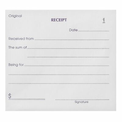 12 x Cash Receipt Book 100 Sequentially Numbered Pages with Duplicates 126x100mm