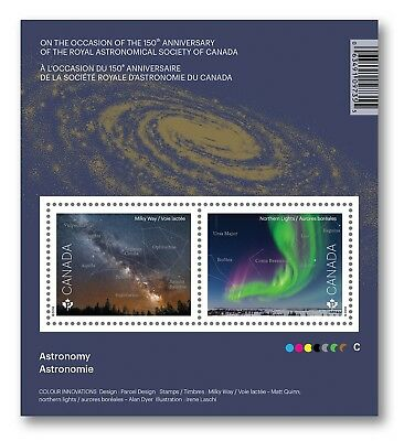 ASTRONOMY = MILKY WAY = NORTHERN LIGHTS = Souvenir sheet of 2 stamps Canada 2018