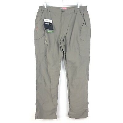 Craghoppers Men's Sz 42 Short Insect Shield Cargo Nylon Pants Pebble Taupe NEW