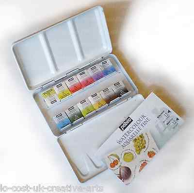 Pebeo Artist Paint Water Colour Aquarelle Fine 12 Half Pan Pocket Metal Tin Set