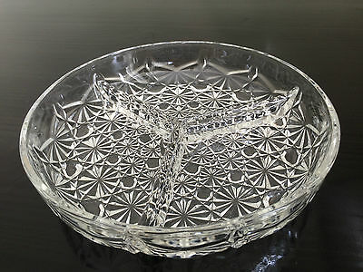 18 cms Round Glass 3 Way Divided Condiments Serving Dish Bowl
