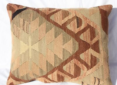 "ANTIQUE TURKISH KILIM RUG LUMBAR PILLOW 24""x18"", GEOMETRIC LUMBAR KILIM CUSHION"