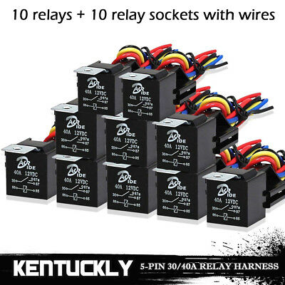 10Pcs DC 12V Car SPDT Automotive Relay 5 Pin 5 Wires w/ Harness Socket 30/40 Amp