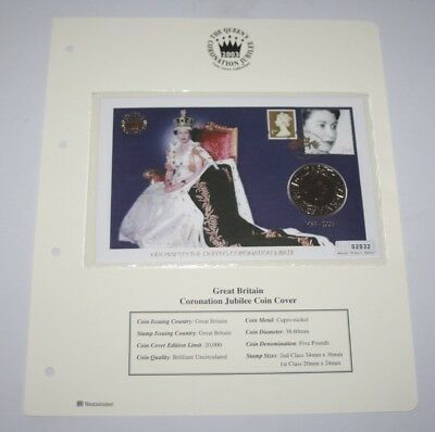 Westminster Collection - Queen Elizabeth II Coronation Jubilee £5 Coin Cover