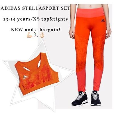 ADIDAS STELLASPORT SET  13-14 years/XS top&tights  NEW and a bargain!