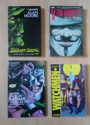 Alan Moore graphic novels: Killing Joke Watchman V for Vendetta and Swamp Thing