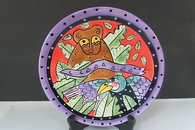 "1998 8"" Laurel Burch Plate Jungle Design Studio Henriksen Baboon & Bird"