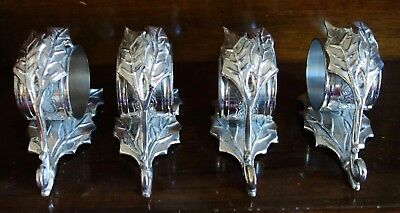 4 X Unusual White Metal Napkin Rings