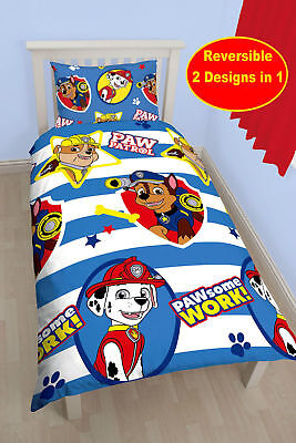 New Paw Patrol Pawsome Single Duvet Quilt Cover Bedding Set Boys Blue Bedroom