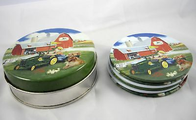 Vintage John Deere 6 Coasters with Tin Holder by Donald Zolan Farm Advertising
