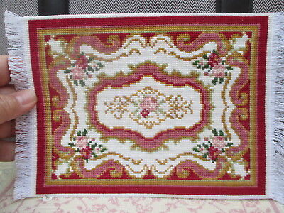 "Dollhouse Miniatures ~ 6"" x 9"" Handmade Needlework Rug ~ Deep Red & Gold w/ Pink"