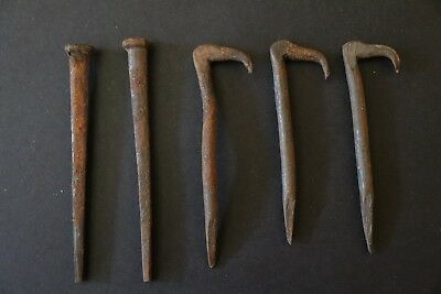 Old Antique HAND FORGED Primitive 5 Pc NAILS Woodworking Architectural Salvage