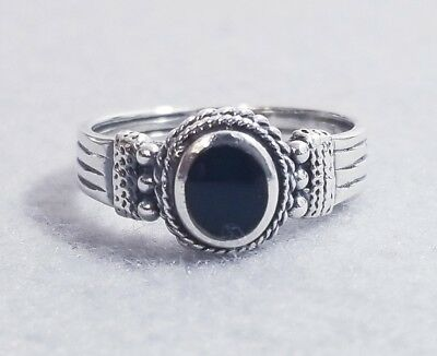 Vintage Southwest Deco Style Black Onyx Grooved Sterling Silver Ring Sz 7.75