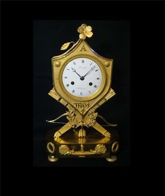 Pendule Empire Ecusson en bronze doré ''Pensée à Moi'' (French clock ormolu)
