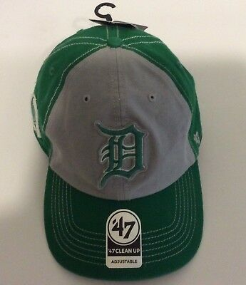 on sale a65f8 7bbb2 Detroit Tigers  47 Brand Clean Up Unisex Adjustable Baseball Hat Cap Green