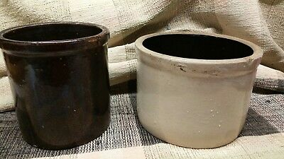 Vintage Lot Of Two - Antique  Stoneware Saltglazed Cheese - Vegetable Crock -