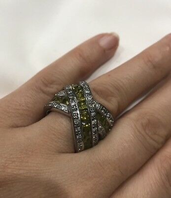 Antique Vintage 925 Silver Ring With Sappires And Light Green Citrine