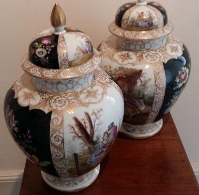 Fine Pair Of Large Handpainted  Dresden Vases And Covers