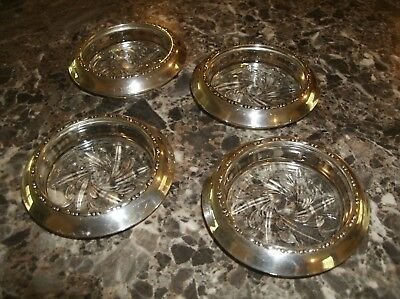 """Antique AMSTON Sterling Silver Pressed Glass 3 3/4"""" Coaster - # 144   Set of 4"""