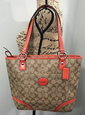 COACH Peyton Signature Tote Orange Handbag F18917 New With Flaw