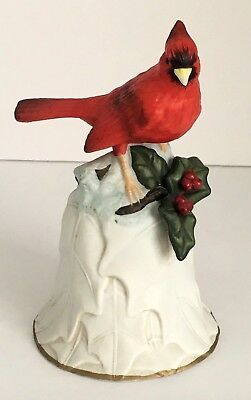 2000 Avon Collectible Cardinal Embossed Holly Bell Gold Trim
