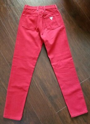 Vtg 90's Guess Jeans Red Denim High Waisted Mom Jeans USA Made Women's Size 26