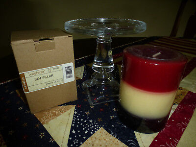 LONGABERGER GLASS CANDLE PEDESTAL/ STAND and PILLAR CANDLE