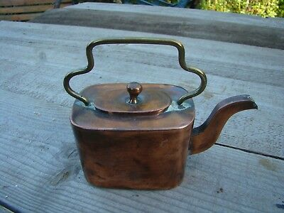 Vintage Solid Copper & Brass Hot Water Pot For One - Top Up Tea Pot Kettle
