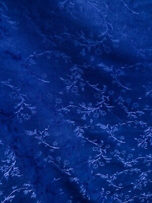 Royal Blue Leaves Chenille Upholstery Fabric 54 In Sold By The