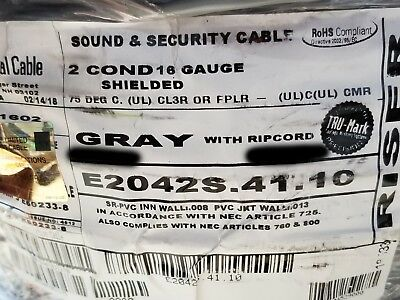 Carol E2042S 16/2C Shielded Security/Communications Cable Riser Gray /100ft