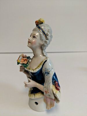 Antique Porcelain Half Doll, Pincushion Doll, French Victorian Style, Rare
