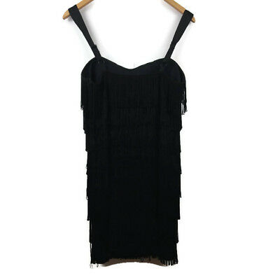 Forever 21 Twenty One Womens Dress Size Large Black Tassel Flapper