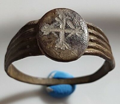 Medieval Byzantine Bronze Ring ** Cross ** Christian