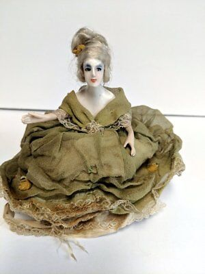 Antique Pincushion Doll, Wax doll head with bisque arms, very rare and very old