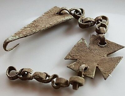 Crusaders ** Cross ** Bronze Chain Holder ** Very Rare Early Christian