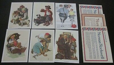 """lot of 6 Norman Rockwell Lithograph Reproductions 5"""" x 7"""" 1970s 1980s Unused"""