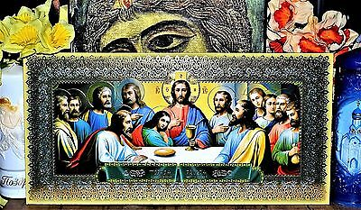 Last Supper of Jesus Christ  Russian Orthodox Icon Silver Gold embossed