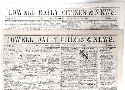 Two Civil War Newspapers Lowell Mass Lincoln Butler 45 Star Flag Civil War 1862
