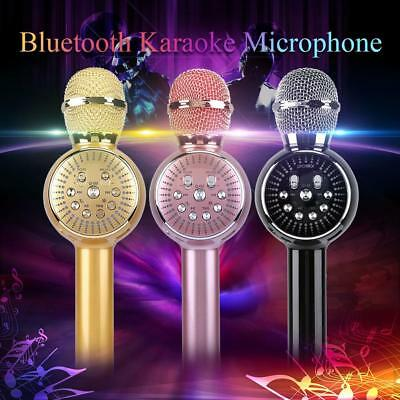 Protable LED Wireless Bluetooth Karaoke Microphone USB MP3 Speaker Mini Home KTV