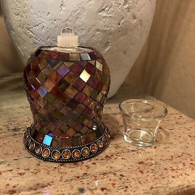 """Partylite Global Fusion Mosaic Peg Light 4 3/4"""" H X 4 1/2"""" Round Top GUC"""