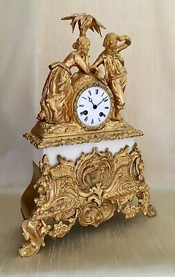 Antique 19th Century  Bronze and Marble Figural Mantle Clock