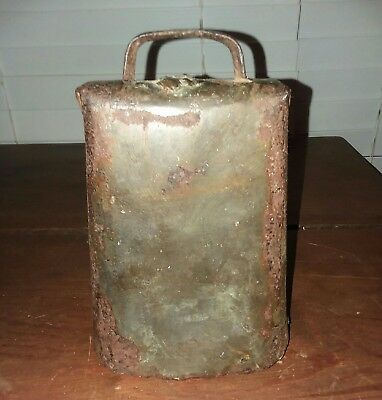 """Antique Hand Forged Riveted Large Cow Bell. Old, Heavy Patina. 7.5"""" Tall 5"""" Wide"""
